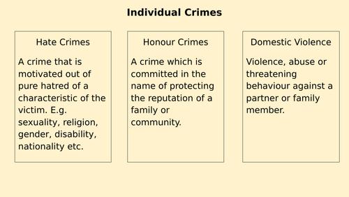 Wjec / Eduqas Criminology unit 1 changing awareness of crime lessons