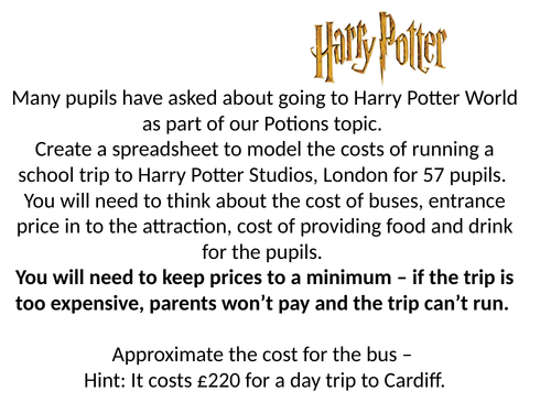Harry Potter Trip Spreadsheet Costing Task