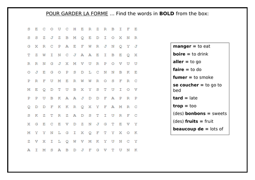 KS2/KS3 French - Healthy Living/ La Vie Saine - Wordsearch