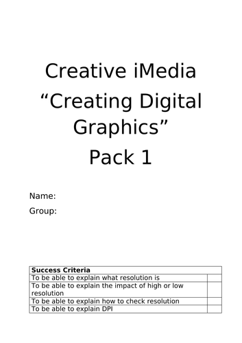 R082 DIGITAL GRAPHICS HOMEWORK PACK CREATIVE IMEDIA