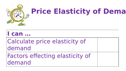 PRICE ELASTICITY OF DEMAND REVISION ALEVEL BUSINESS