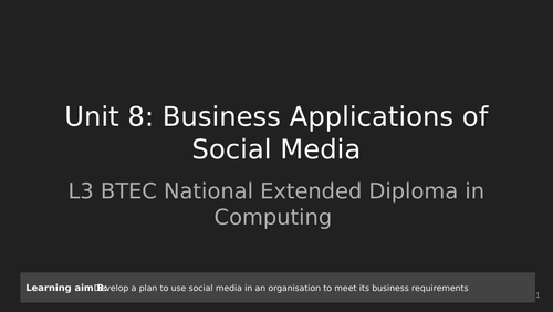 BTEC Level 3 Unit 8: Business and Social Media Learning Aim B Complete