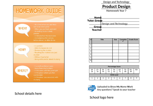 Year 7 homework Design and Technology booklet