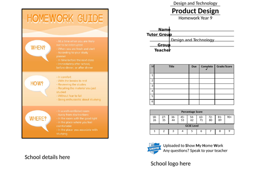 Year 9 homework Design and Technology booklet