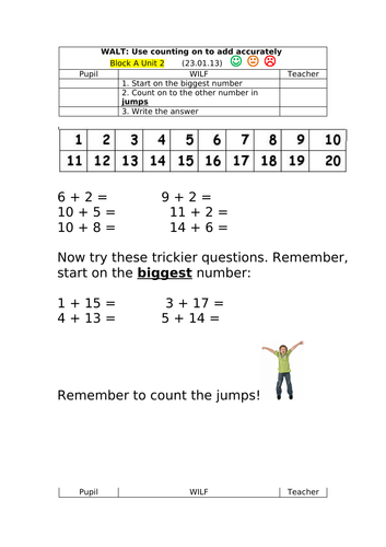 Use counting on to add accurately