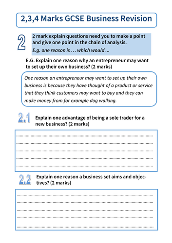 AQA GCSE Business 9-1 REVISION guide for 2,3,4 mark questions