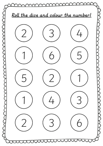 Roll and Colour Numbers up to 6 recognition activity