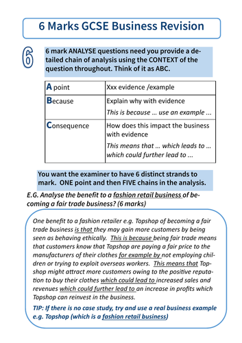 AQA GCSE Business 9-1 Exam Structure 6 Mark Questions