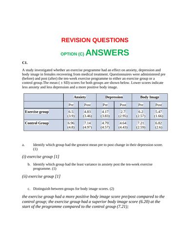 IB DP OPTION C SL TEST + ANSWERS
