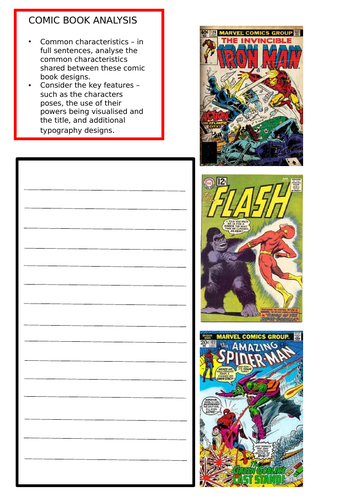 Comic book analysis and Design worksheets.