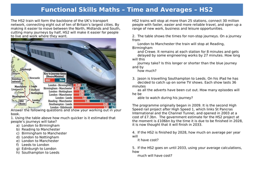 Functional Skills Maths L1-2 - Time and Averages - HS2