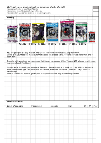 Space themed weight conversion activity