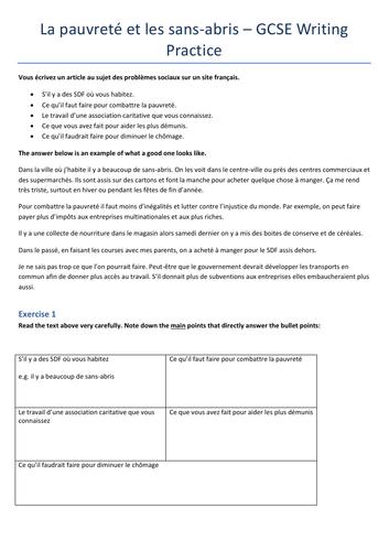 GCSE French Writing Practice 'La Pauvreté et les sans-abris'