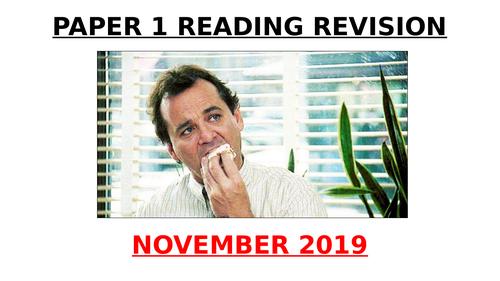 EDUQAS GCSE English Language Paper 1 November 2019 exam Q1-Q5 PowerPoint