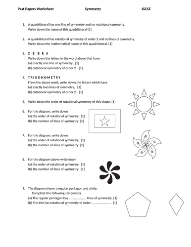 Symmetry - IGCSE Mathematics 0580- Past Papers Worksheet with Answers