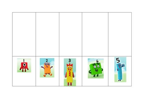 Numberblocks (1-10) representing numbers