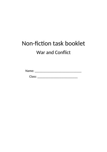 13 page non fiction task booklet (war and conflict)