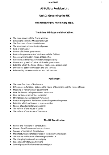 Government and Politics: Unit 2 Revision Booklet