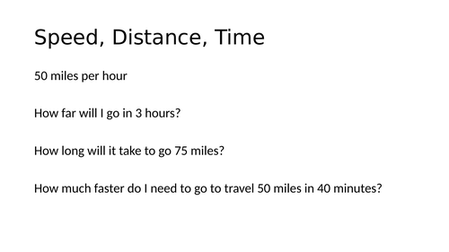 Speed distance time lesson(s)