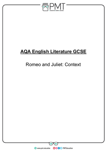 Romeo and Juliet Revision Pack - AQA