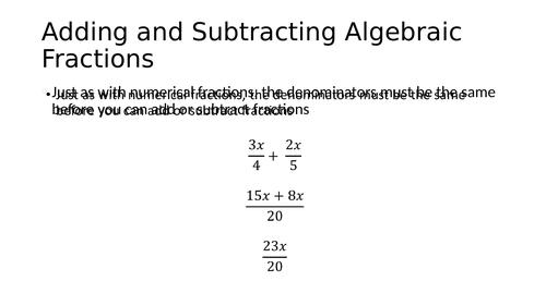 Algebraic Fractions Pack