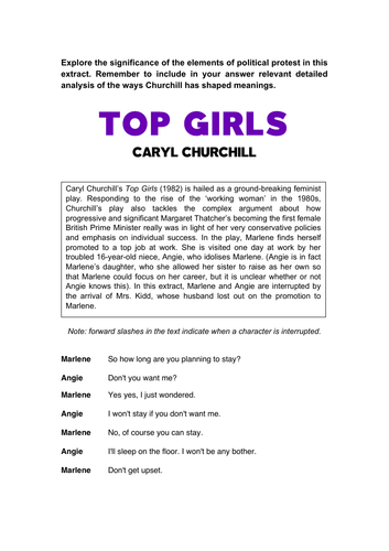 Top Girls (Protest Extract: AQA KS5)