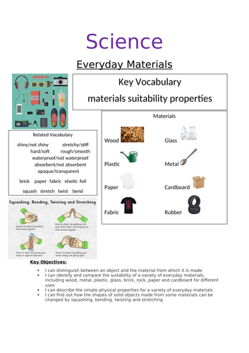 Y2 Everyday Materials Booklet