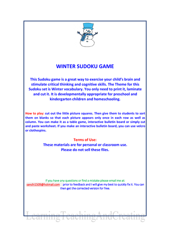 WINTER SUDOKU GAME