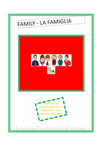ENGLISH ITALIAN FAMILY FLASHCARDS