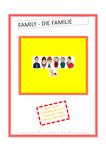 ENGLISH GERMAN FAMILY FLASHCARDS