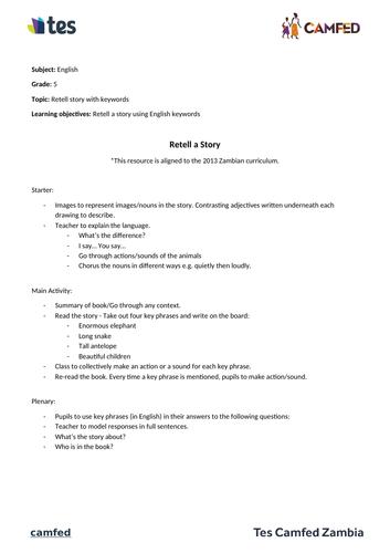 Retell Story Lesson Plan (Zambian Curriculum)