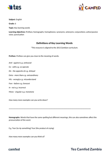 Definitions of Key Learning Words Worksheet (Zambian Curriculum)