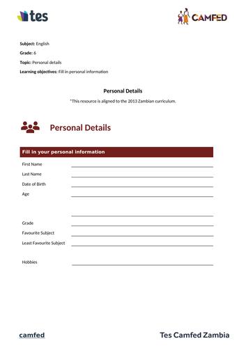 Personal Details Worksheet (Zambian Curriculum)