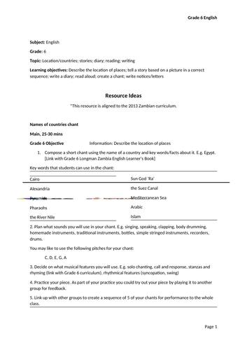Resource Ideas Lesson Plan (Zambian Curriculum)