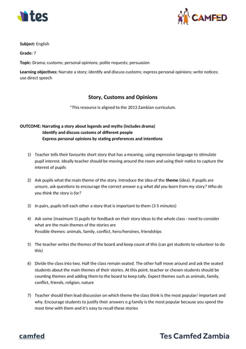 Story, Customs and Opinions Lesson Plan (Zambian Curriculum)