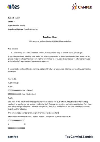 Teaching Ideas Activity (Zambian Curriculum)