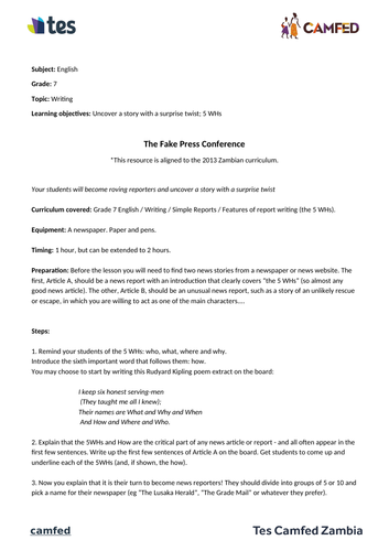 The Fake Press Conference Lesson Plan (Zambian Curriculum)