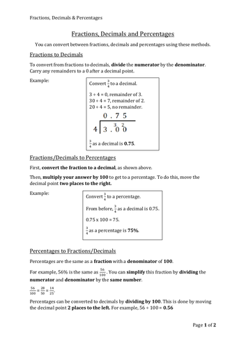 Fractions, Decimals & Percentages Free