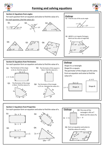 Forming and solving equations