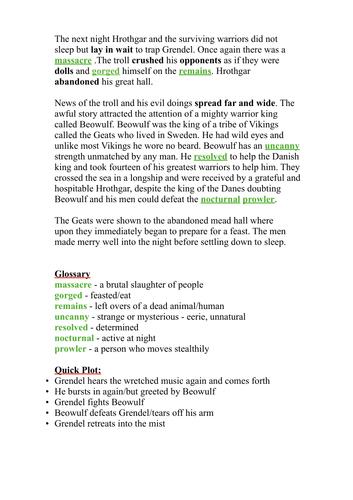 Beowulf 2/4 - Writing - Text Analysis