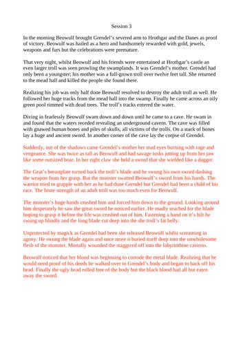 Beowulf 3/4 - Writing - Text Analysis