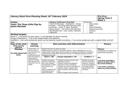 Traditional Tales - Reception Literacy planning for the Three Little Pigs