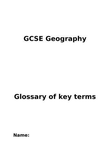 OCR A GCSE Geography Glossary of Key Terms