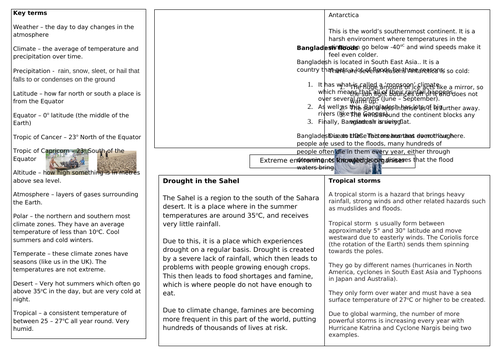 Extreme Environments knowledge organiser
