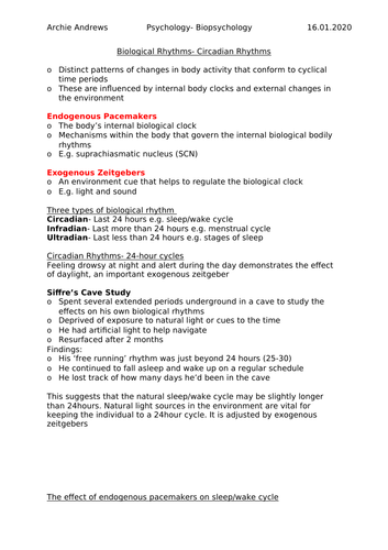 AQA A-level Psychology Biopsychology Revision Notes