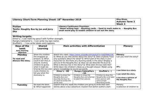 Reception Literacy plan based on Naughty Bus.