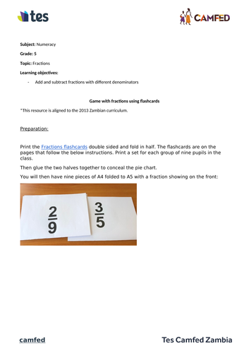 Fraction Game (Zambian Curriculum)