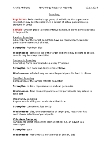 AQA A-level Psychology Sampling Revision Notes