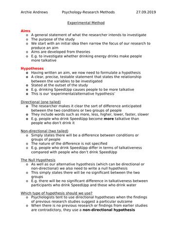 AQA A-level Psychology Experimental Method Revision Notes