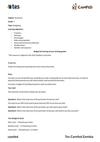 Budget your garden activity (Zambian Curriculum)